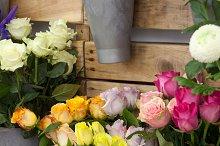 Roses and Chrysanthemum flowers