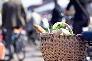 Basket of food on a bike