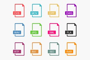 12 Outline File Icons