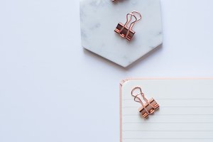 Rose Gold & Marble Stock Photo