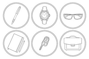 Business detailed. 6 icons. Vector