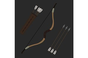 Medieval archer long bow. Vector