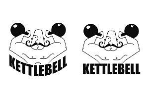 Kettlebell linear emblem. Vector