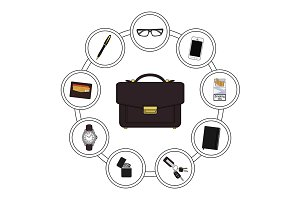 Business handbag contents. Vector