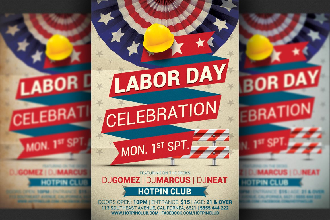 63233 Labor Day Party Flyer Template