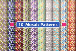Set of mosaic seamless patterns