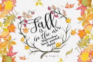 Autumn Leaves Watercolor clipart