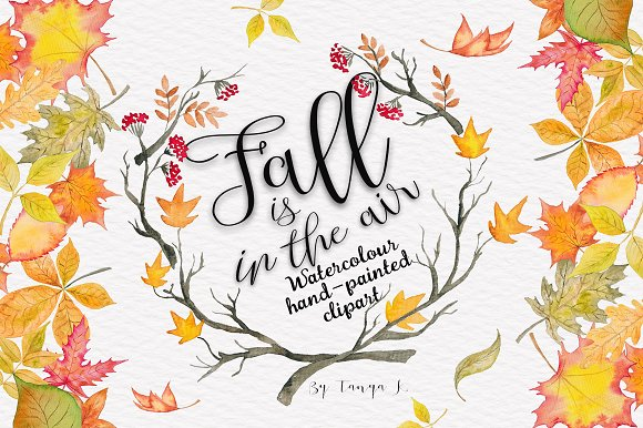 Fall is in the air Autumn Watercolor - Illustrations