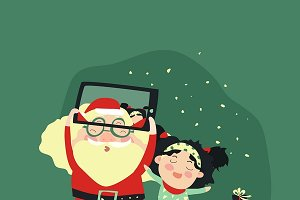 Santa and girl taking selfie