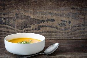 Pumpkin soup and pumpkin seeds