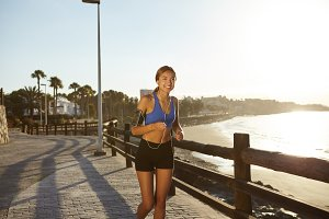 Young jogger woman training