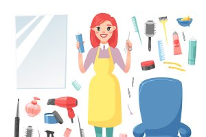 Hairdresser barber girl vector set
