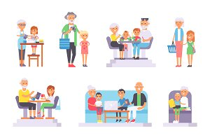 Old and young people vector set