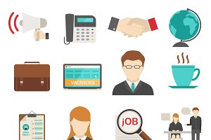 Job search icons vector set