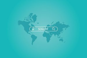 Search bar on a world map