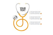 Orange Stethoscope. Vector