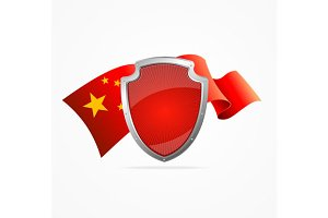 China Flag and Shield. Vector