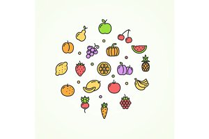 Fruits and Vegetables Round Icon