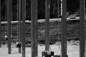 Swing Set, Portrait, B&W