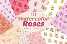Watercolor ROSES {Printable Papers}