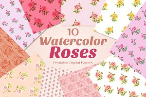 Watercolor ROSES {Printable Papers}
