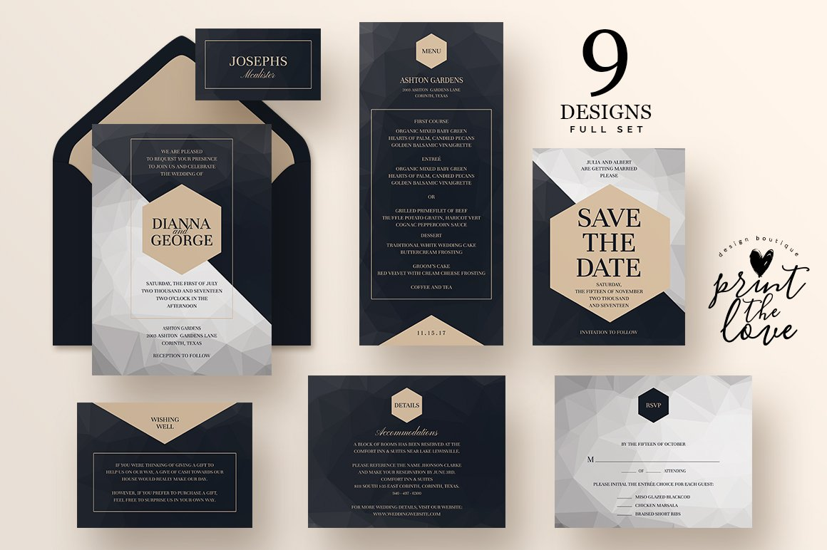 Wedding Invitation Suite Poly Invitation Templates Creative Market - Wedding invitation templates: wedding invitation suite templates
