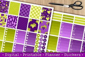 Stickers set for vertical planner