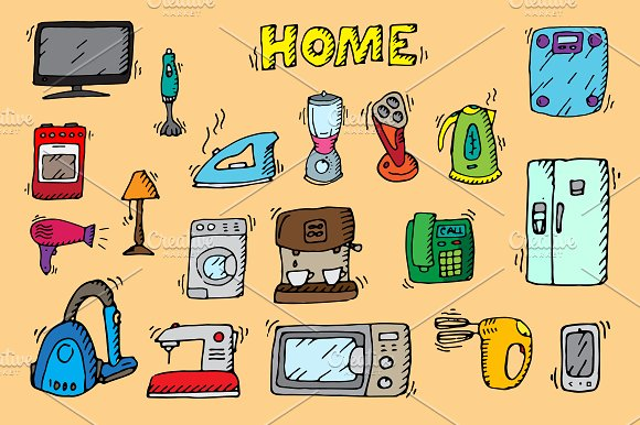 Home appliances. Doodle vector. - Objects