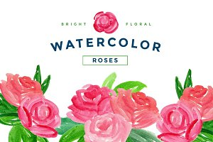 Bright Roses Watercolor PNG