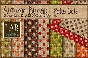 12 Fall Polka Dot Burlap Textures