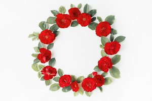 Floral wreath frame with roses