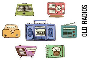 Old Radios Doodle Clipart