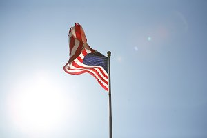 American flag with sunflare