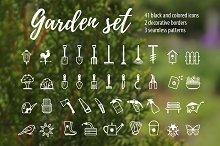 Vector set of garden tools