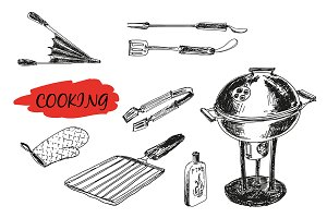 Hand drawn set for a barbecue