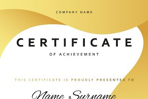 Certificate design in gold color.
