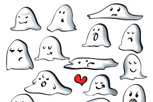 Ghost characters isolated