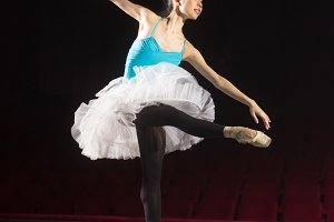 Ballerina practising stage one leg