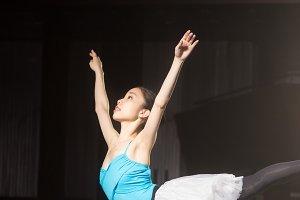 Ballerina practising stage