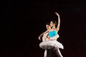 Ballet dance couple practicing