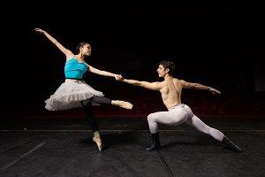 Ballet dancers practicing theater