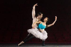 Ballet dancers practicing stage
