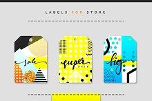 Label set for clothing sales.