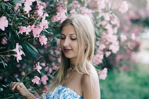 blonde girl in the garden