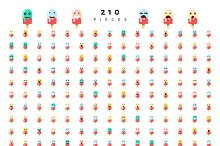 Great set of 210 emotions isolated