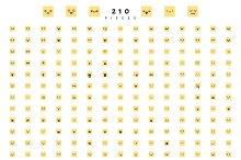 Emoticon emoji set of 210