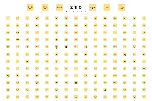 Emoticon emoji set of 210