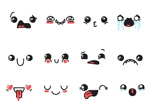 Set of 16 doodle emotions. Smile Web