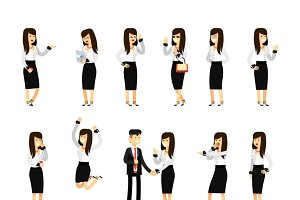 Characters business woman and man