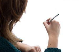 Artist girl paint blank empty white